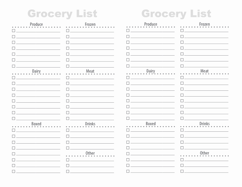 Printable Grocery List Template Elegant 28 Free Printable Grocery List Templates