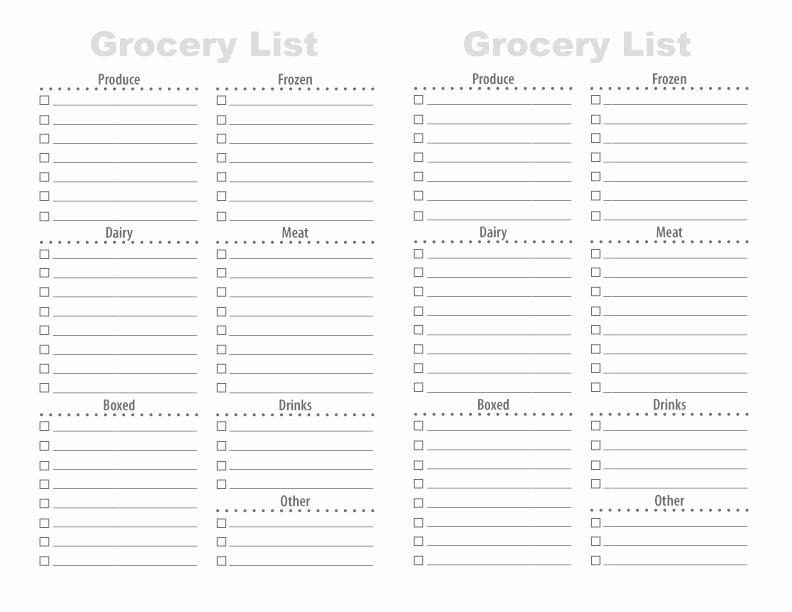 Printable Grocery List Template Elegant 28 Free Printable Grocery List Templates