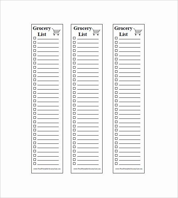 Printable Grocery List Template Fresh 10 Blank Grocery List Templates Pdf Doc Xls