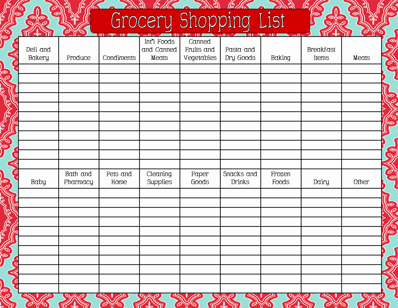 Printable Grocery List Template Fresh 8 Best Of Printable Grocery List by Aisle Free