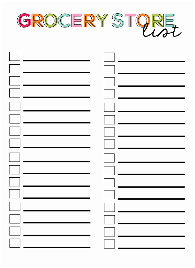 Printable Grocery List Template Inspirational 28 Free Printable Grocery List Templates