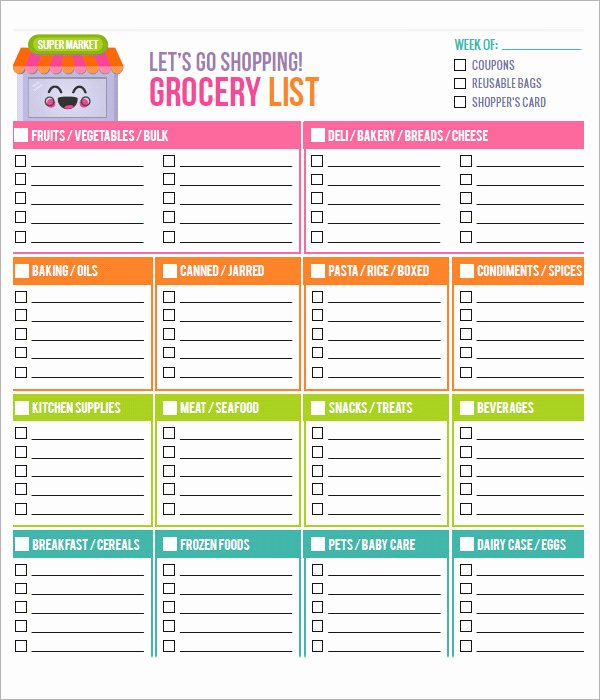 Printable Grocery List Template Unique 28 Free Printable Grocery List Templates