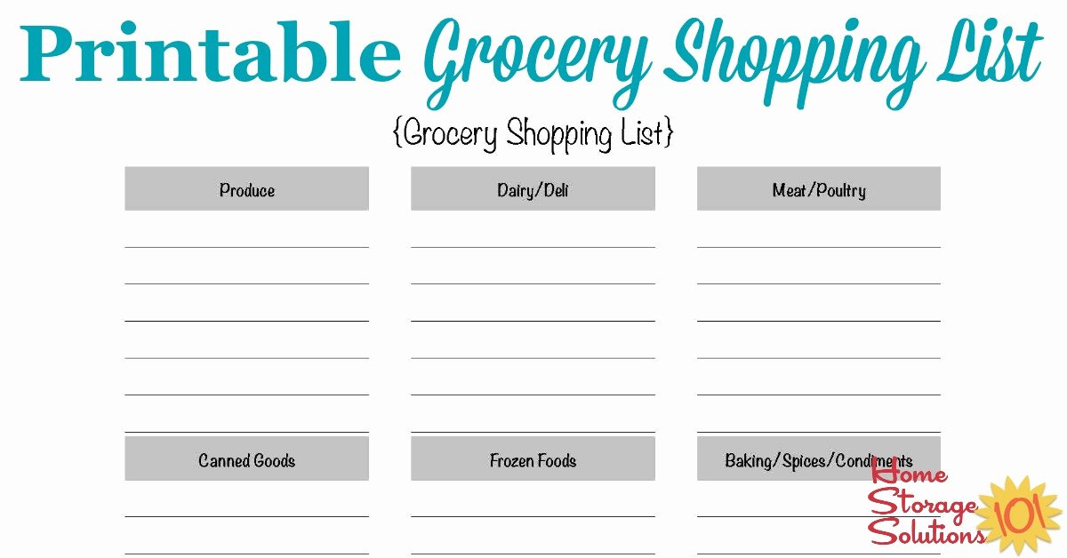 Printable Grocery List Template Unique Free Printable Grocery Shopping List Template