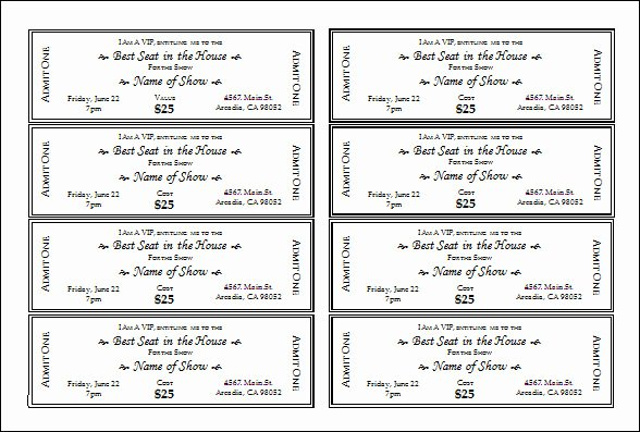 Printable Movie Tickets Template Elegant 30 Printable Ticket Templates to Download