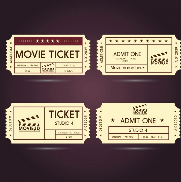 Printable Movie Tickets Template Elegant Ticket Free Vector 166 Free Vector for