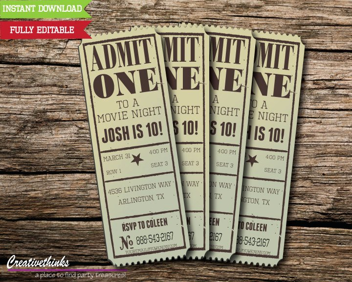 Printable Movie Tickets Template Inspirational Editable Vintage Movie Ticket Invitation Digital File