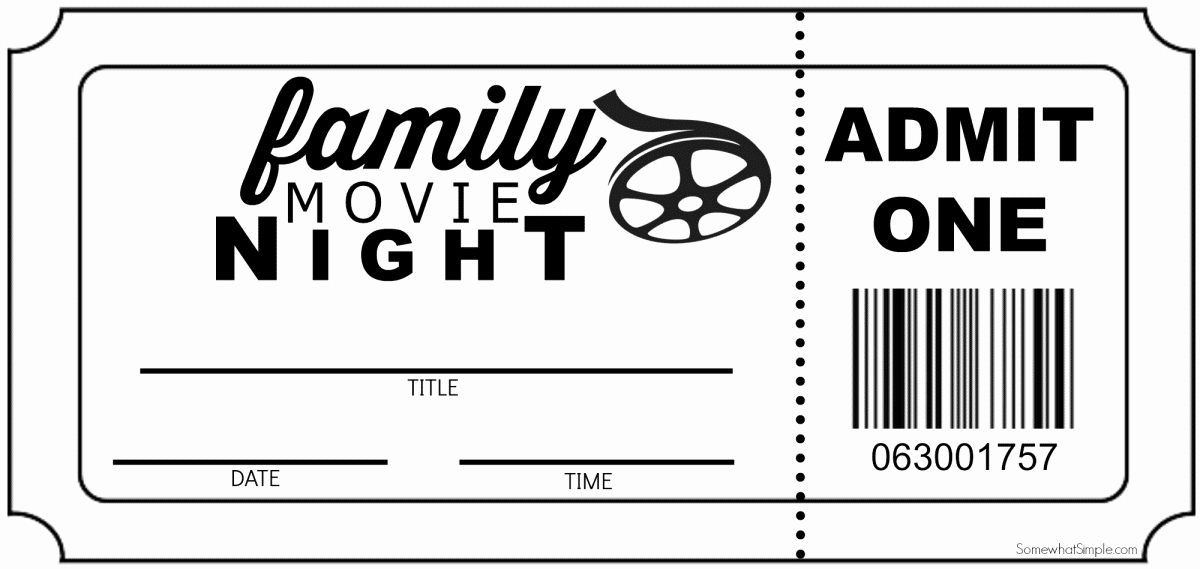 Printable Movie Tickets Template Inspirational Family Movie Night Invitation Tickets somewhat Simple