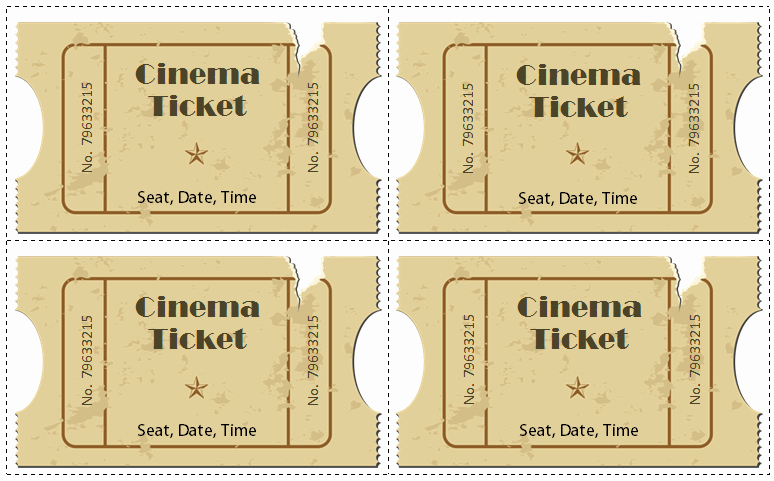 Printable Movie Tickets Template Lovely 6 Movie Ticket Templates to Design Customized Tickets