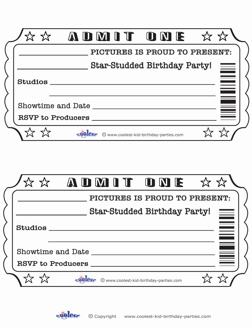 Printable Movie Tickets Template Lovely Blank Movie Ticket Invitation Template Free Download Aashe