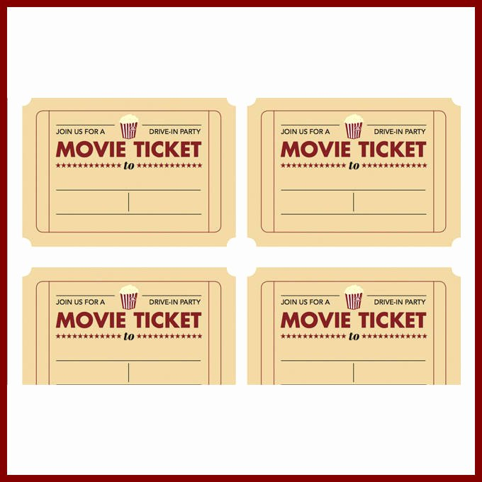 Printable Movie Tickets Template Lovely Movie Ticket Template
