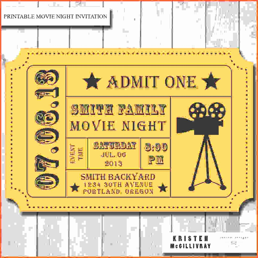 Printable Movie Tickets Template New Admission Ticket Template Example Mughals