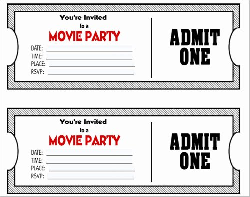 Printable Movie Tickets Template Unique 36 Printable Movie Ticket Templates Free Psd Pdf Excel