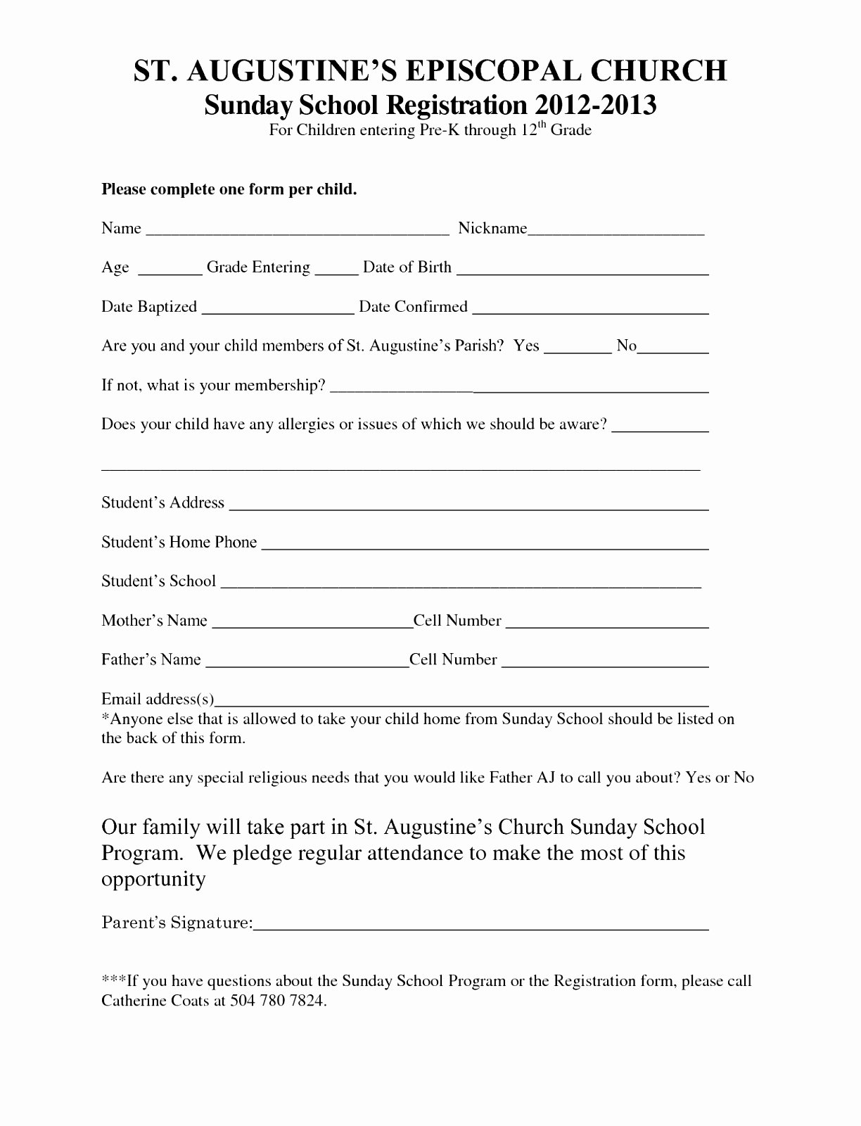 Printable Registration form Template Awesome 7 Sunday School Registration form Template Cutei