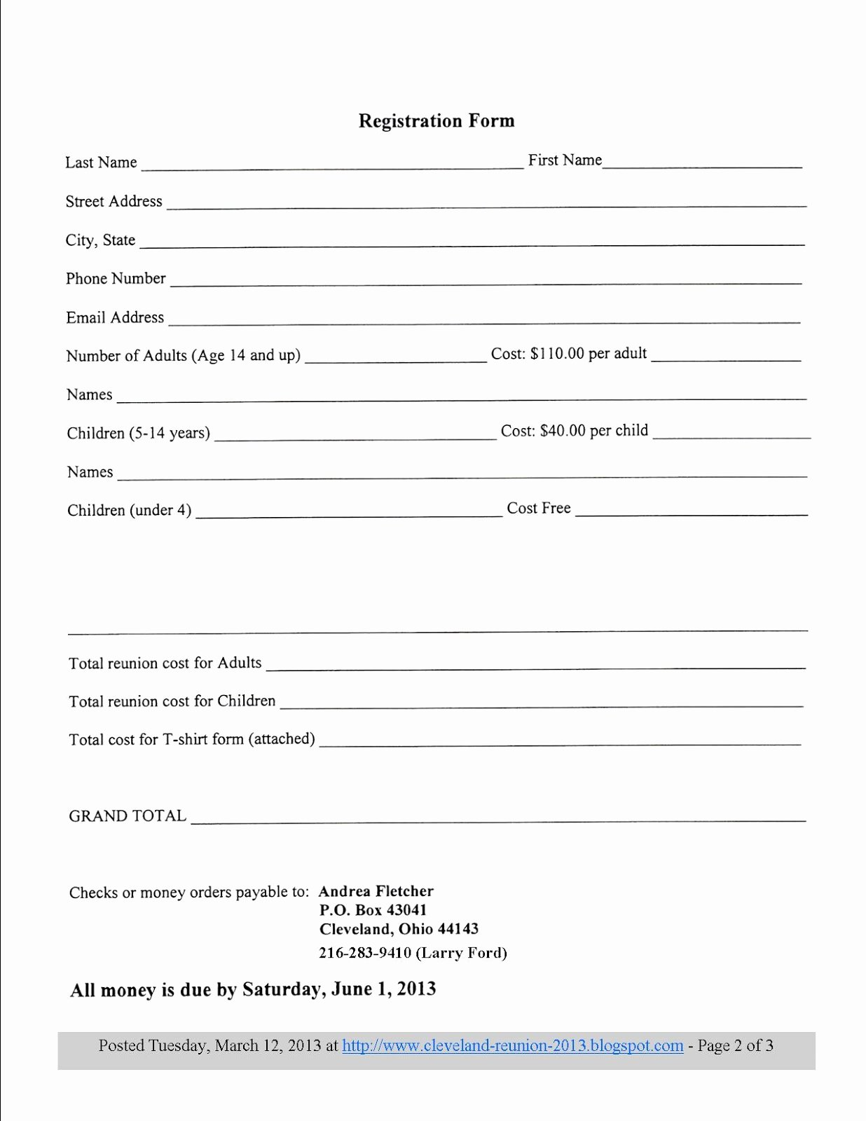 Printable Registration form Template Beautiful 8 Best S Of Printable Registration form Template