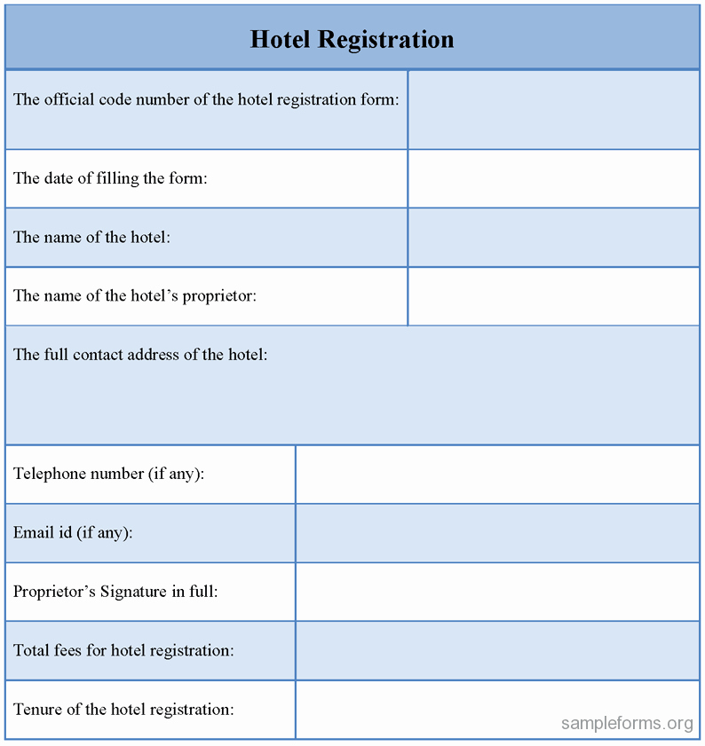Printable Registration form Template Beautiful Blank Hotel Registration Cards to Pin On