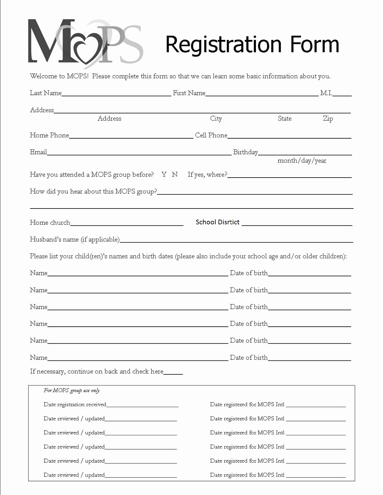 Printable Registration form Template Beautiful Mothers Of Preschoolers Chippewa Evangelical Free Church