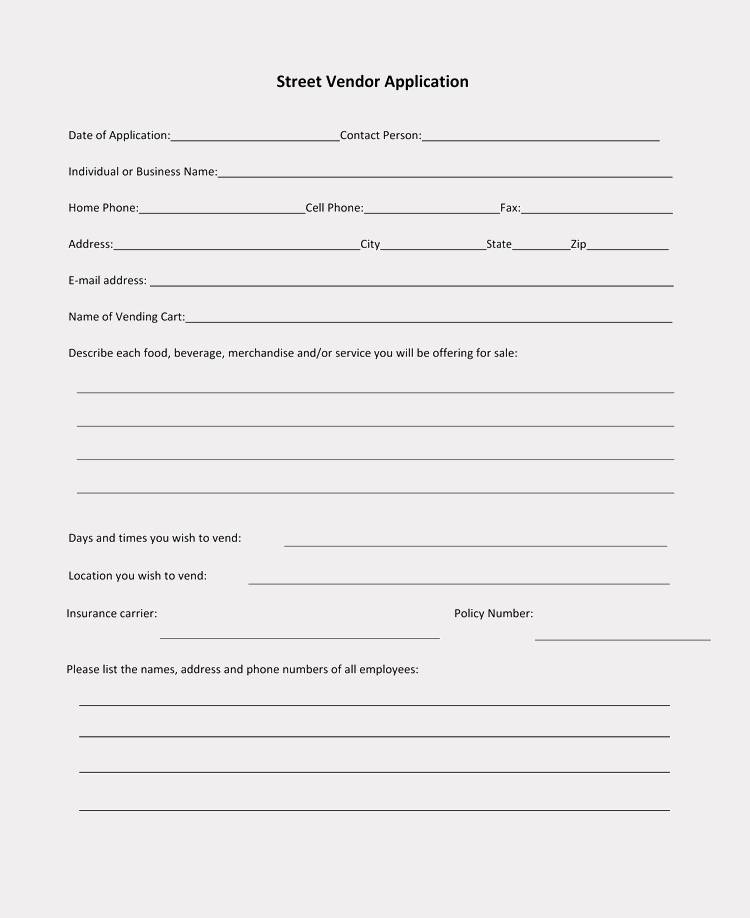 Printable Registration form Template Inspirational 9 Printable Blank Vendor Registration form Templates for