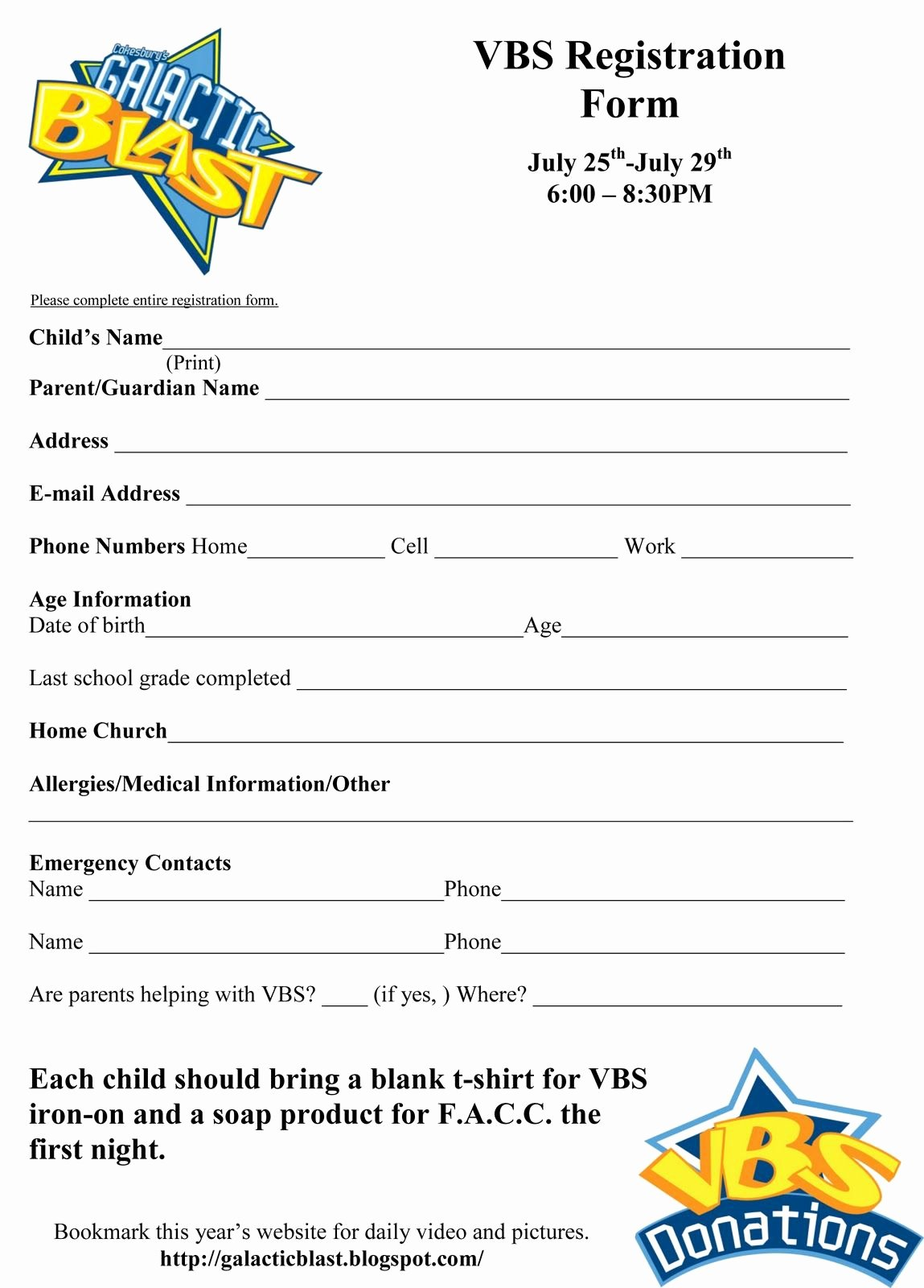 Printable Registration form Template Luxury Free Vbs Registration form Template Vbs