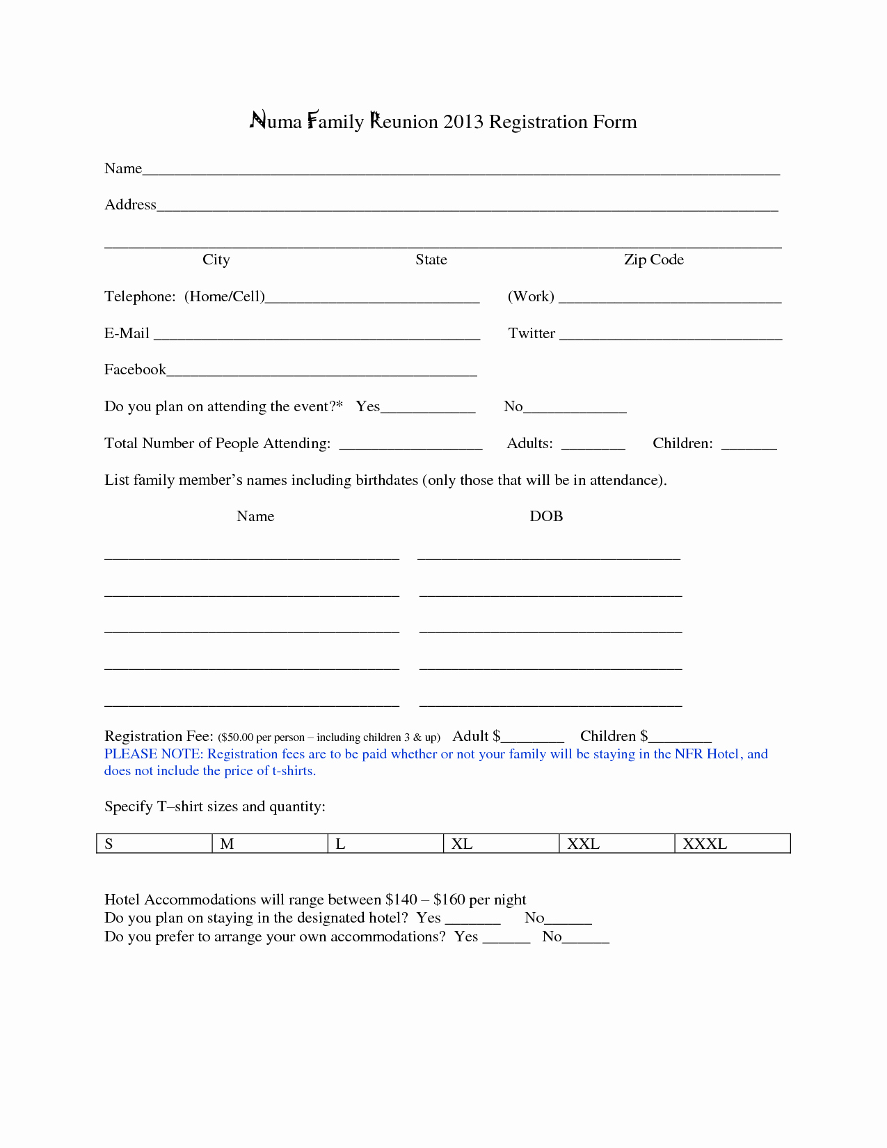 Printable Registration form Template New 7 Best Of Family Reunion forms Printable Free