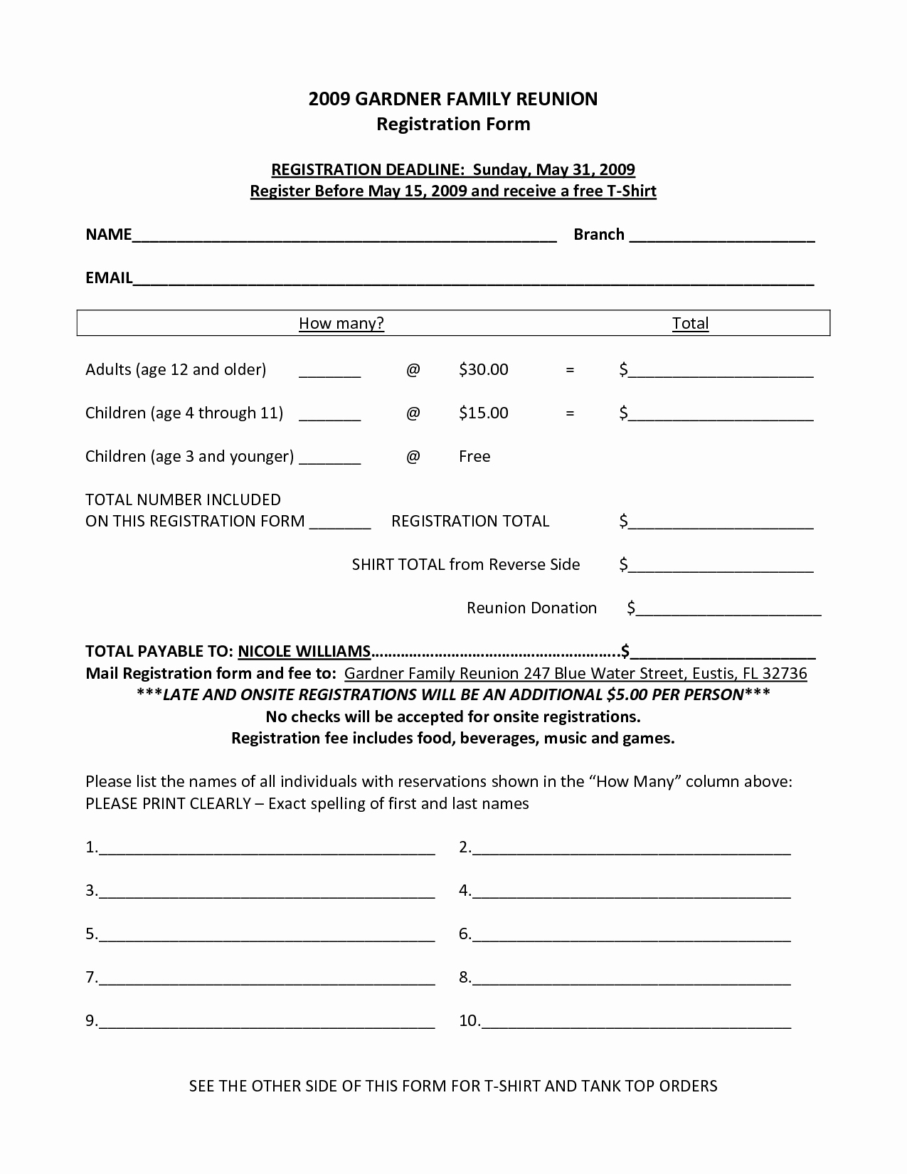 Printable Registration form Template Unique 7 Best Of Family Reunion forms Printable Free