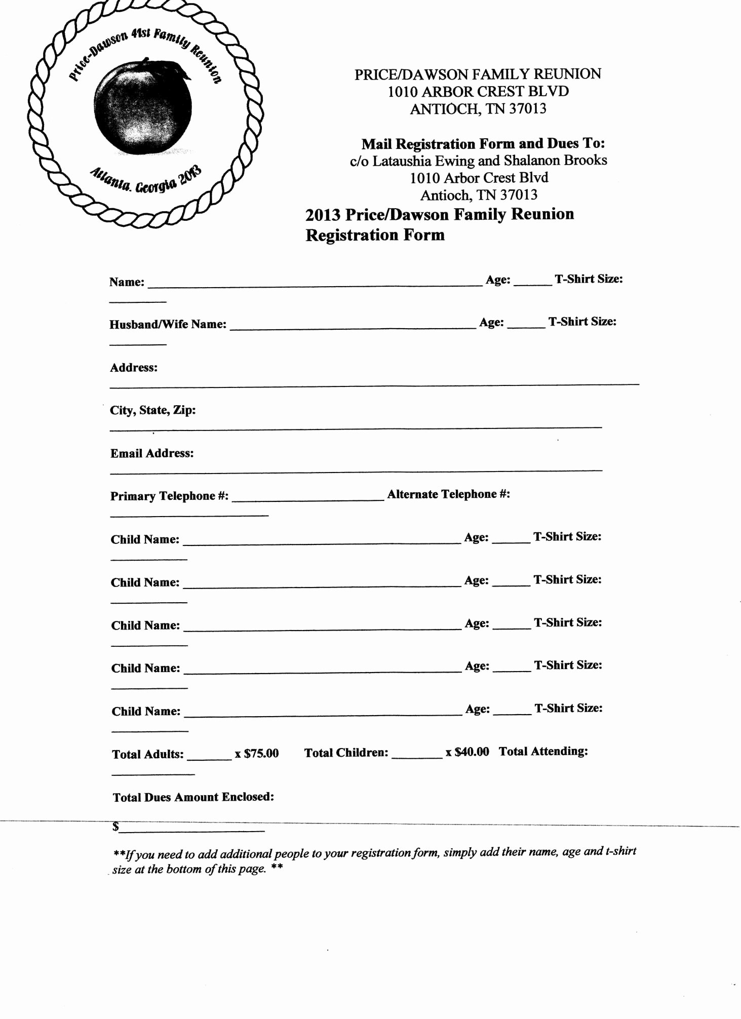 Printable Registration form Template Unique Free Printable Family Reunion Letters