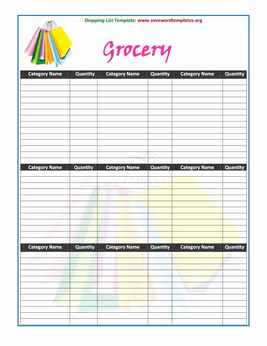 Printable Shopping List Template Best Of 40 Printable Grocery List Templates Shopping List