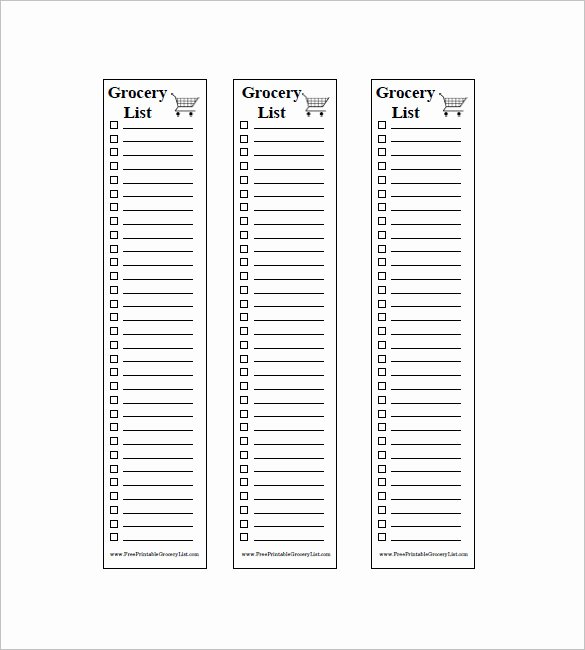 Printable Shopping List Template Unique 10 Blank Grocery List Templates Pdf Doc Xls