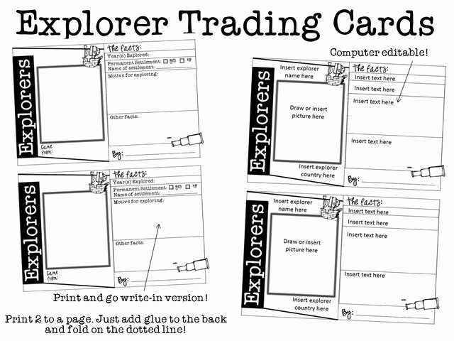 Printable Trading Card Template Awesome Ginger Snaps Explorers Trading Cards for Any Explorer