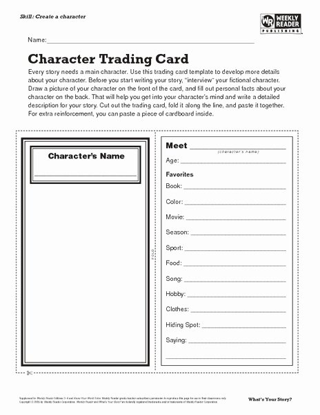 Printable Trading Card Template Lovely Character Trading Card Lesson Plan for 7th 8th Grade