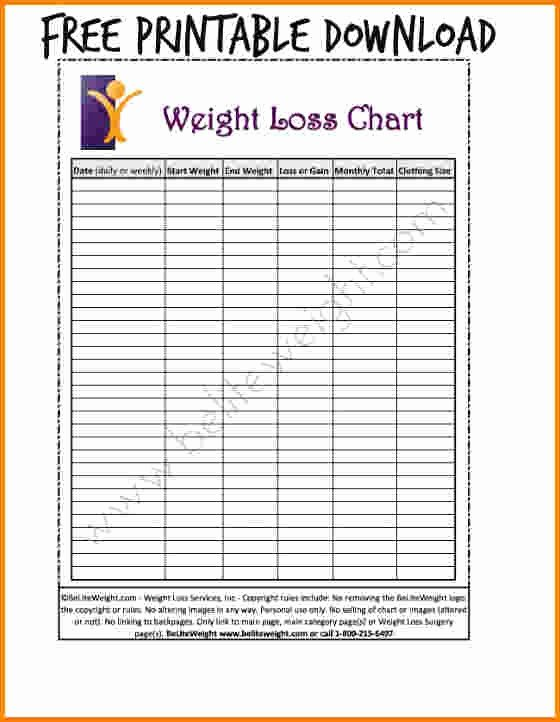 Printable Weight Loss Chart Template Beautiful Unique Printable Weight Loss Calendar