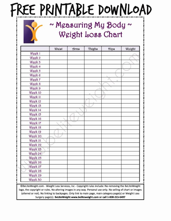 Printable Weight Loss Chart Template Lovely Keeping Track Your Weight Loss Tips & Free Printable
