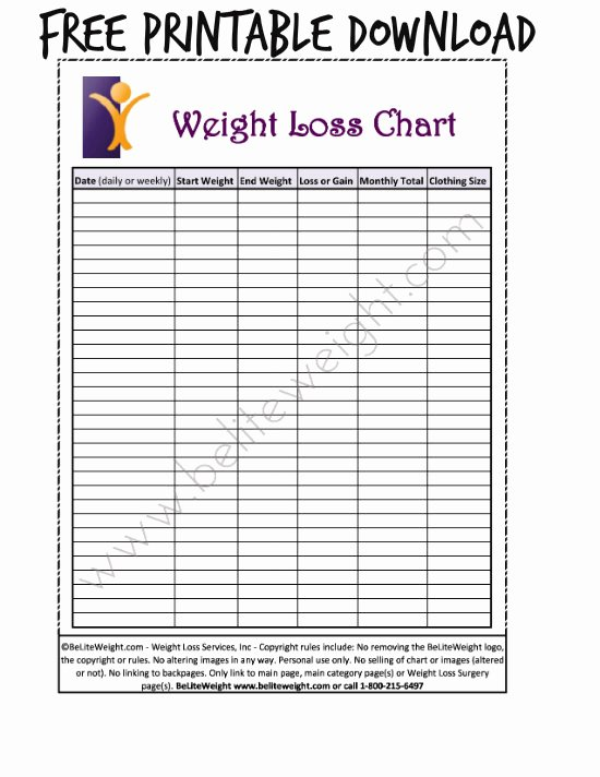Printable Weight Loss Chart Template New 6 Best Of Printable Daily Weight Loss Chart