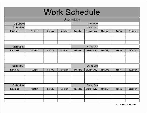 Printable Work Schedule Template Beautiful Free Printable Weekly Work Schedule Template Excel Template
