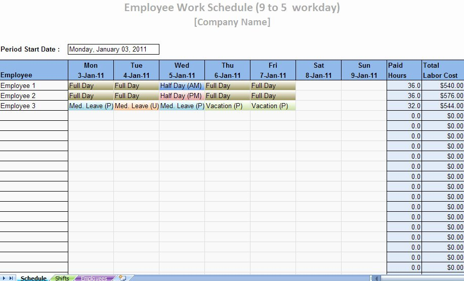 Printable Work Schedule Template Beautiful Printable Work Schedule Templates