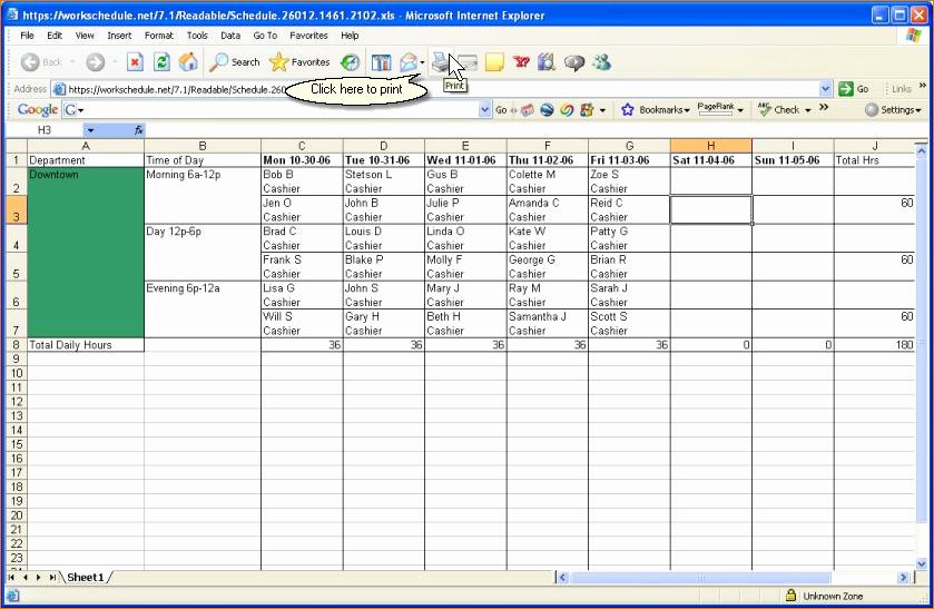 Printable Work Schedule Template Best Of 3 Printable Work Schedule