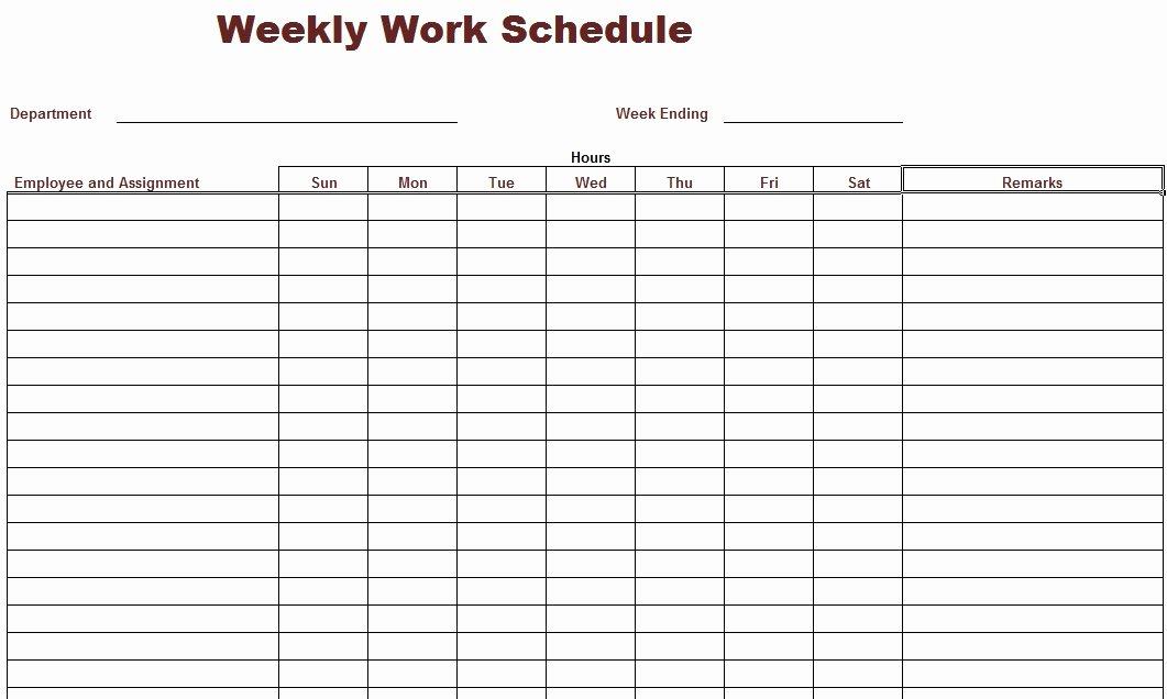 Printable Work Schedule Template Elegant 9 Best Of Free Printable Weekly Work Schedule