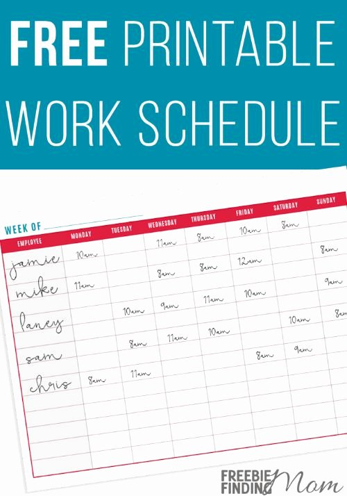 Printable Work Schedule Template Elegant Free Printable Work Schedule