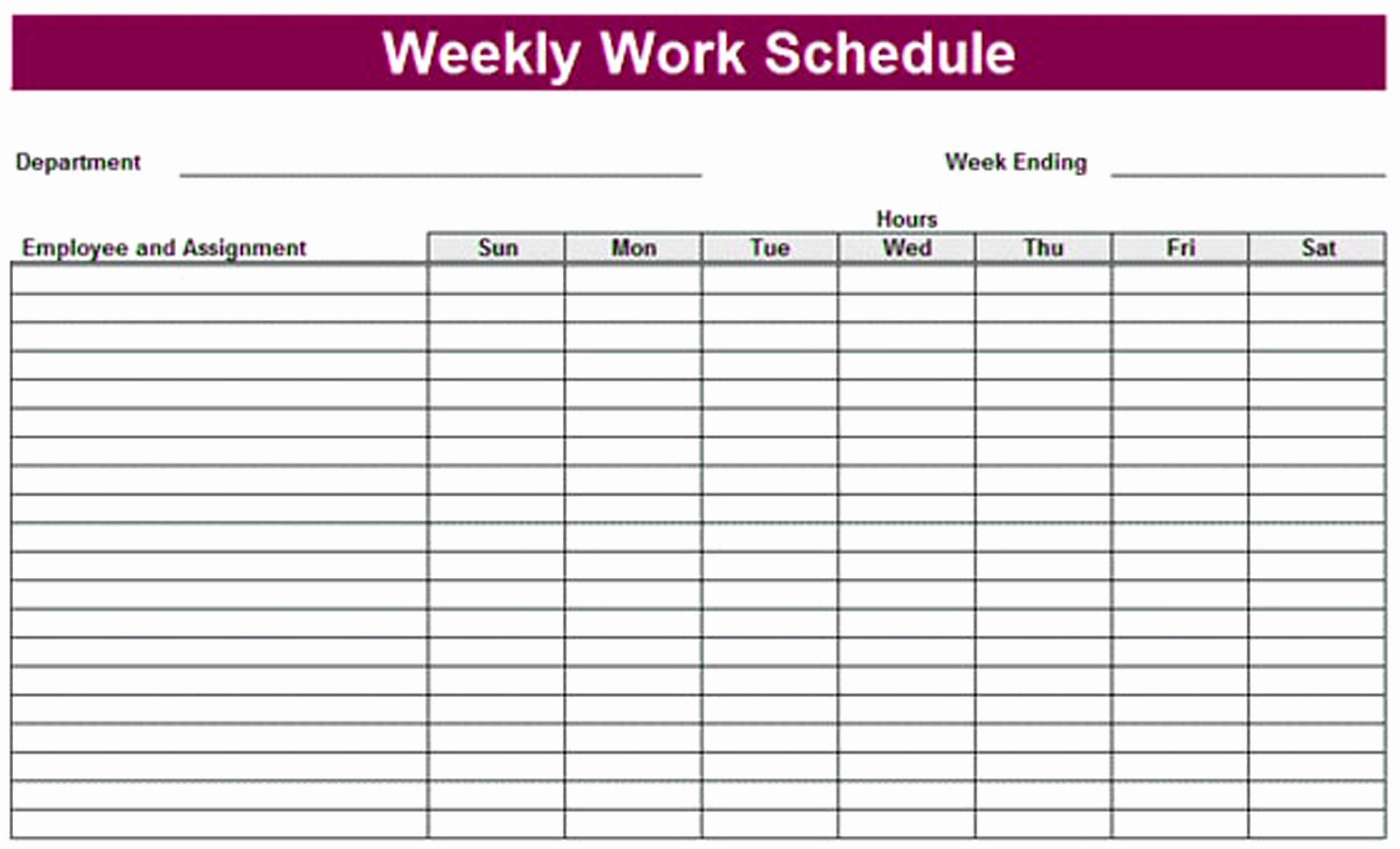 Printable Work Schedule Template Elegant Printable Weekly Schedule Template & Excel Planner