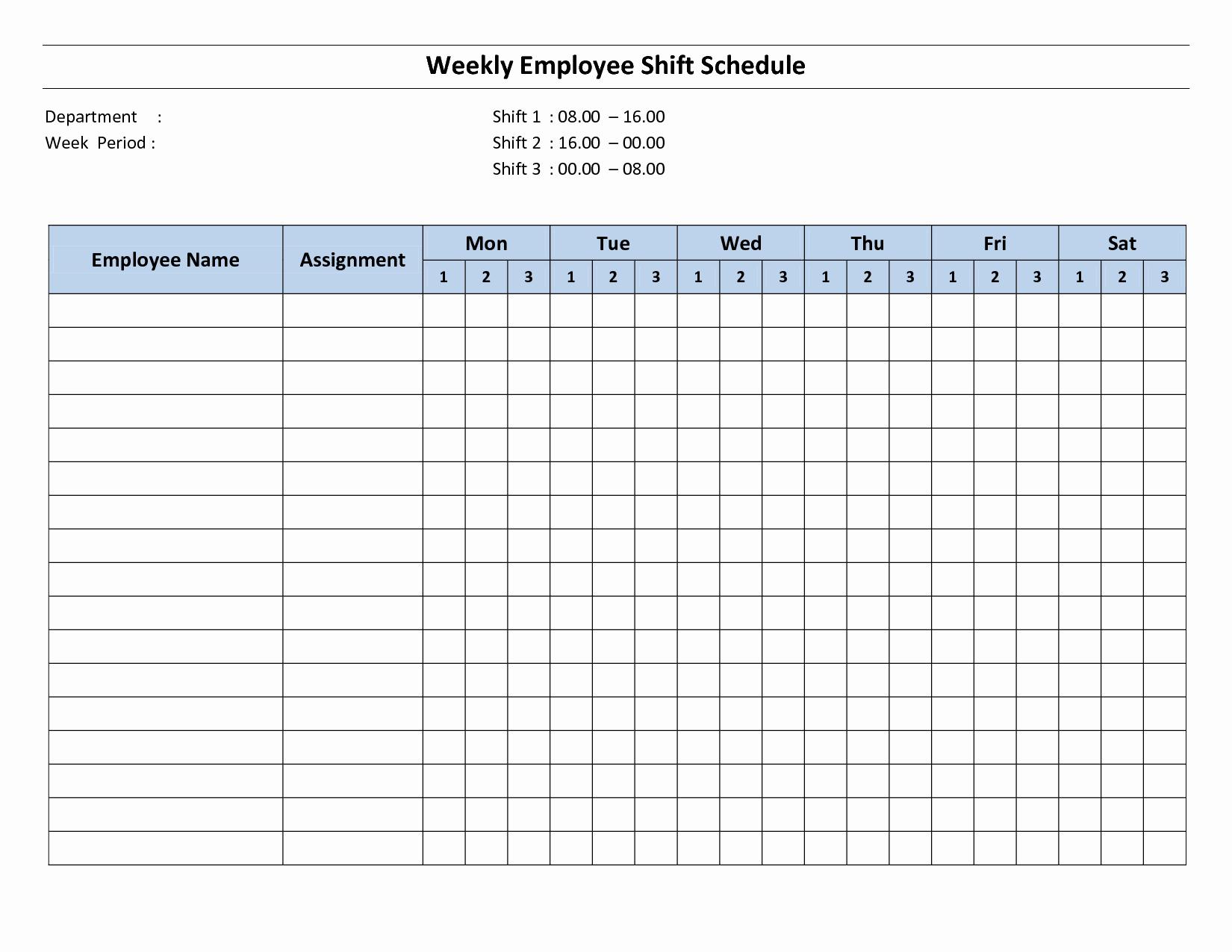 Printable Work Schedule Template Luxury 9 Best Of Free Printable Weekly Employee Schedule