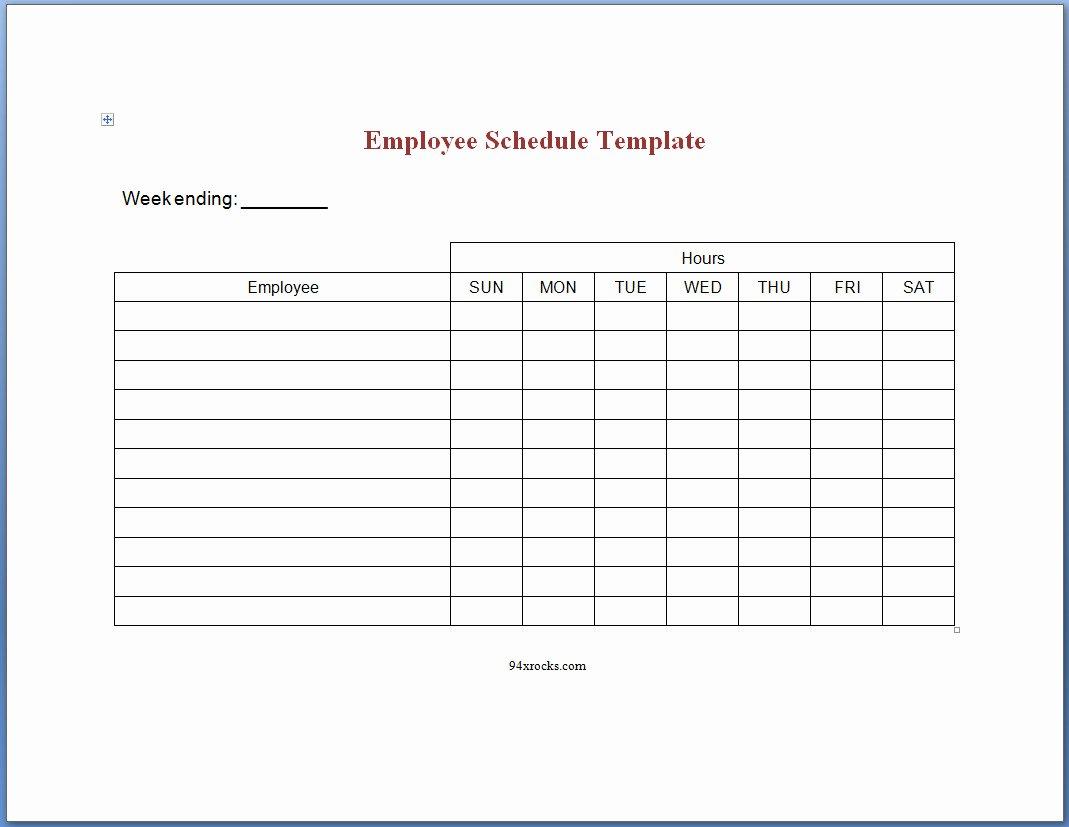 Printable Work Schedule Template Luxury Printable Employee Schedule Templates Example Of