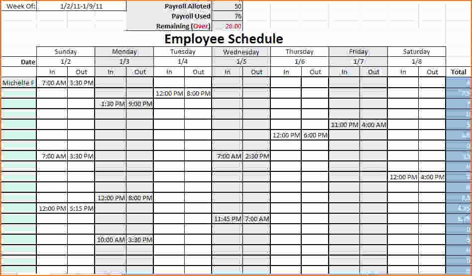 Printable Work Schedule Template New 4 Work Schedule Template Excel
