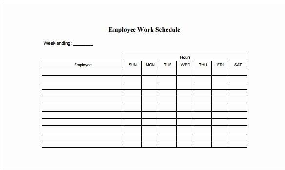 Printable Work Schedule Template New Free Employee Schedule Template