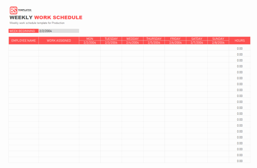 Printable Work Schedule Template New Work Schedule Template Daily Weekly