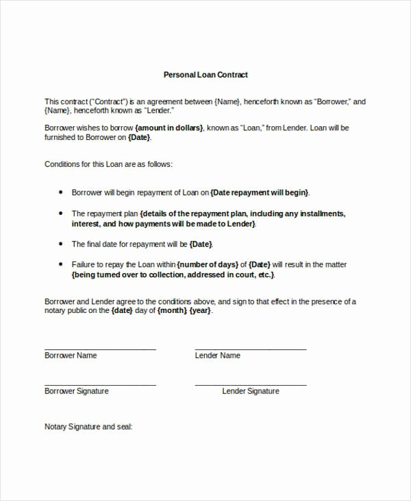 Private Loan Contract Template Fresh 11 Loan Contract Templates Docs Word
