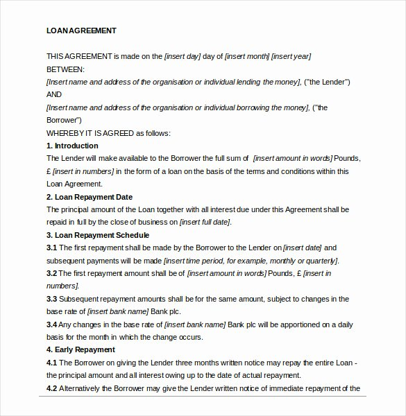 Private Loan Contract Template Inspirational Loan Agreement Template – 11 Free Word Pdf Documents
