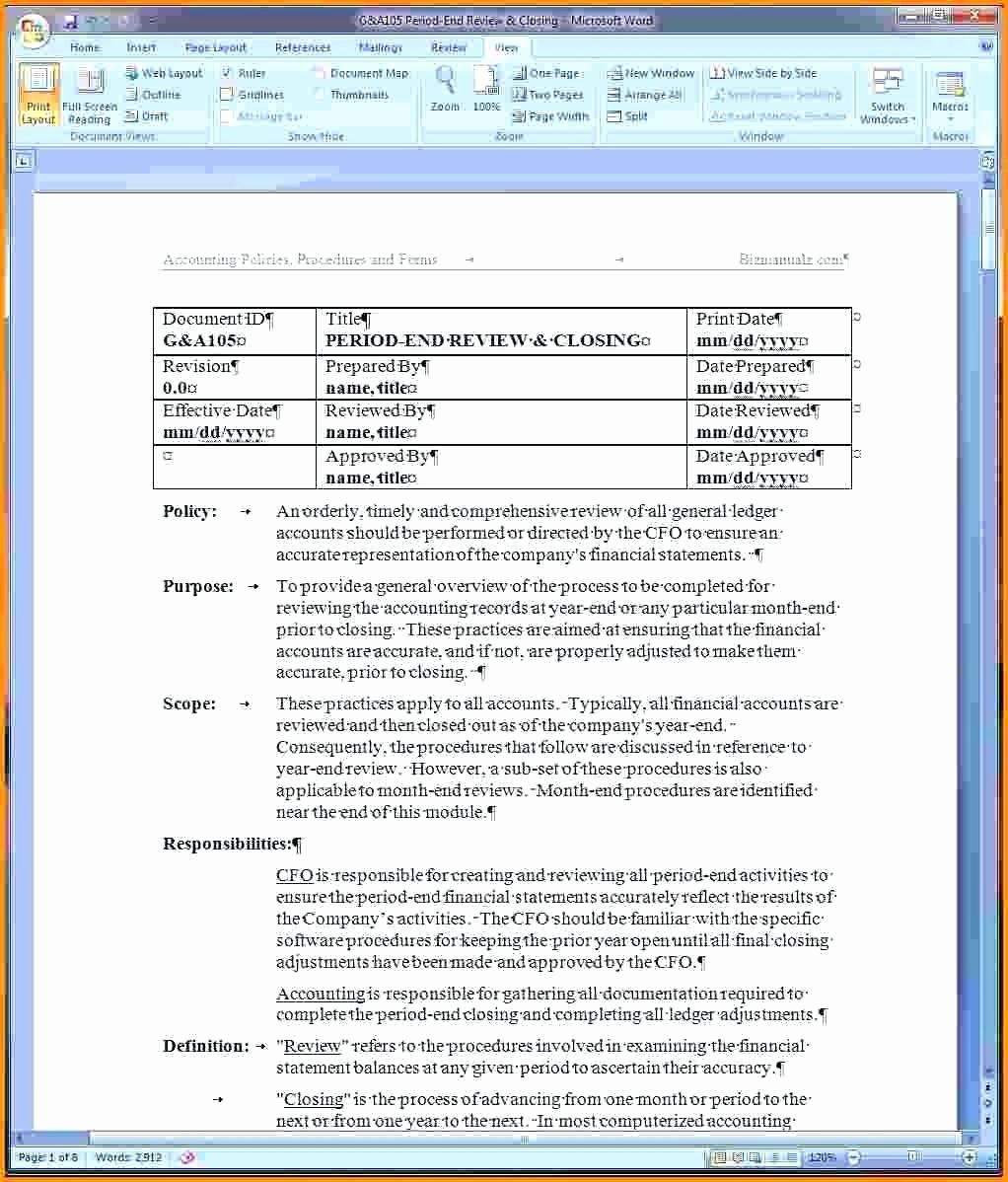 Process Document Template Word Fresh Process Documentation Template Word