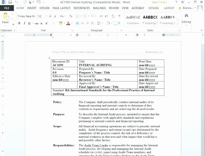 Process Document Template Word Luxury Procedure Manual Template Microsoft Word Policies