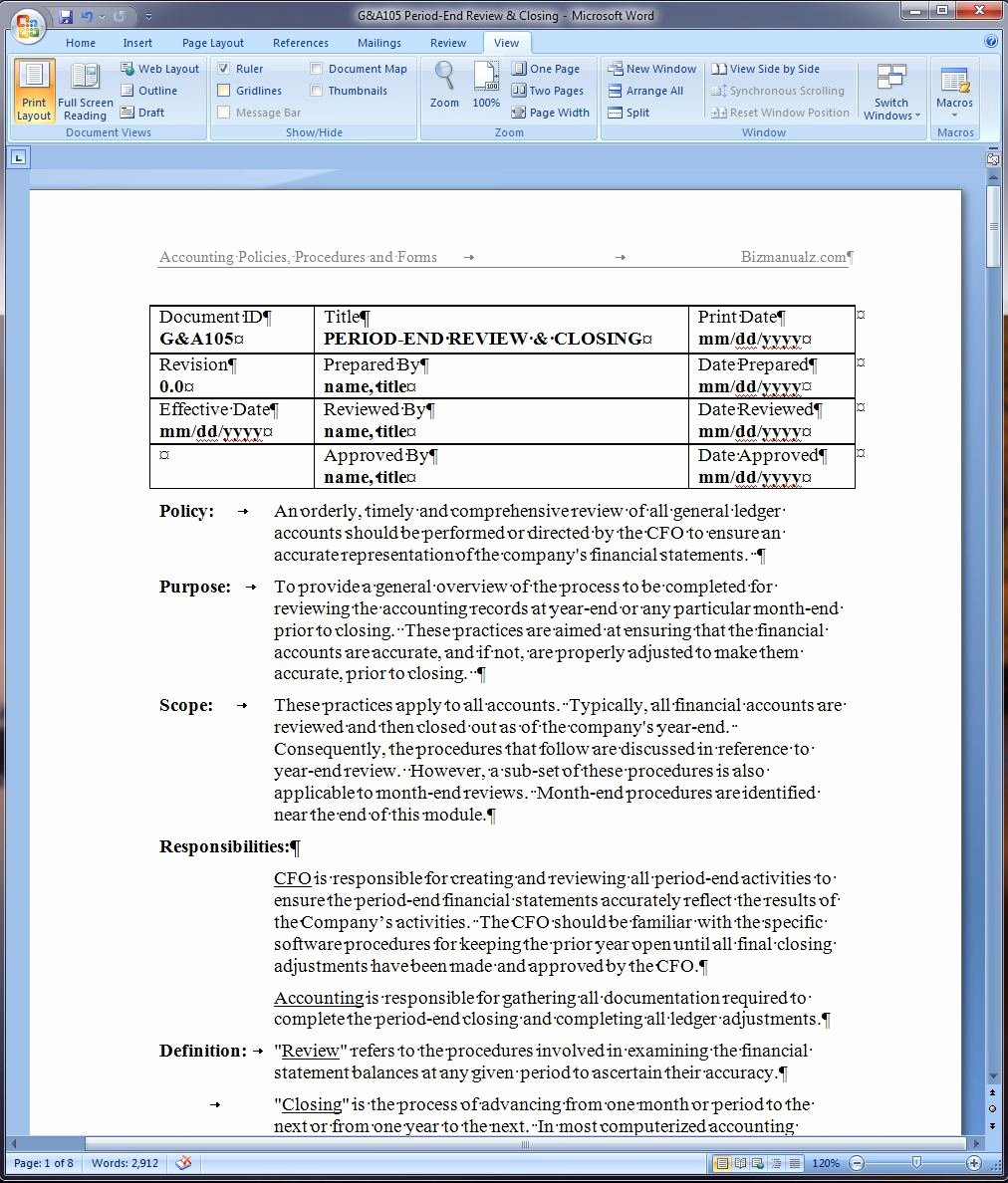Process Document Template Word New Period End Review and Closing Policy and Procedure Word