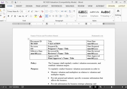 Process Document Template Word New Policy and Procedure Template Microsoft Word