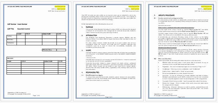 Process Document Template Word New Standard Operating Procedure sop Templates for Word